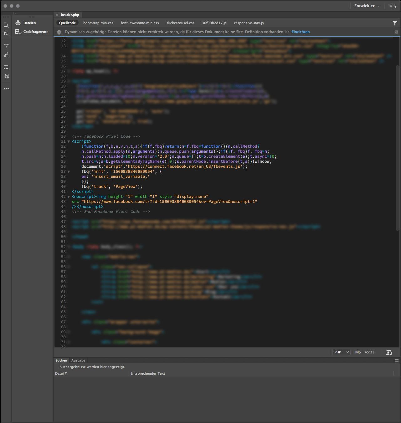 So sieht der Quellcode zum Facebook-Pixel aus.
